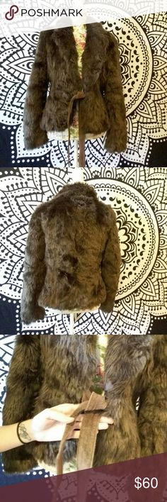 """Zara Brown Faux Fur Jacket Great condition. Has a smell from being packed away. Should be good as new with a dry cleaning. Has straps which tie the jacket together. Measurements on request! Always open to reasonable offers! It looks like the measurements are 25"""" from top to bottom and is 16"""" across. It just ties together so technically it could fit various sizes. Zara Jackets & Coats Utility Jackets"""