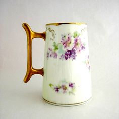 Antique Mug Tankard Flowers Porcelain by RosaMeyerCollection, $34.00