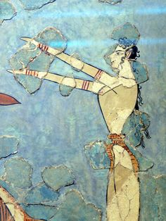 Close-up of fresco of the Bronze age Etruscan Crete. Later than Minoan, but the influence is obvious.