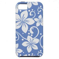 Plumeria Swirl Blue 2 iPhone 5 Covers - Tropical Hawaiian print with white plumeria style flowers and swirls on a soft blue background. Retro vintage look.