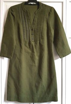 Boden Green Dress US 4 R UK 8 R Cotton & Linen Laura Pleated Bodice 3/4 Sleeve  #Boden #Shift #Casual