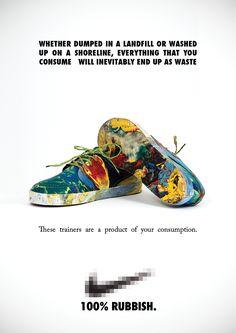 La iniciativa Everything you buy is rubbish ha hecho un diseño de zapatillas para concienciar acerca del consumismo y su derivación en residuos.