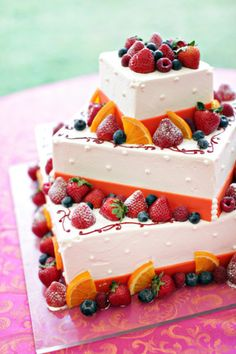 Fruit decorated wedding cake