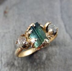 Raw blue green Tourmaline Diamond Gold Engagement Ring Wedding Ring Custom One Of a Kind Gemstone Ring Bespoke Three stone Ring byAngeline