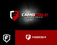 Camofield brand logo for camouflage products with a flare. by pixelism™