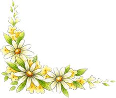Ribbon flowers, part 3 Art Floral, Hibiscus Flowers, Yellow Flowers, Book Clip Art, Decoupage, Photo Corners, Borders And Frames, Flower Clipart, Floral Border