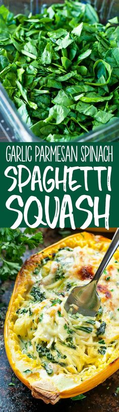 This Cheesy Garlic Parmesan Spinach Spaghetti Squash recipe packs an entire package of spinach swirled with an easy cheesy cream sauce. #spaghettisquash #squash #garlic #parmesan #cheese #glutenfree #vegetairan #dinner Spaghetti Squash Sauce, Vegetarian Spaghetti Squash Recipes, Spaghetti Squash Crockpot, Speggetti Squash Recipes, Spaghetti Squash Calories, Spaghetti Squah, Cheese Spaghetti, Spaghetti Squash Chicken Parmesan, Stuffed Spaghetti Squash