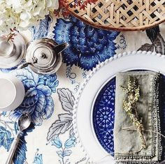 We love the way Kayla Gex has styled our Bourgogne plate in this relaxed blue and white table setting for Australian House & Garden. Photograph by Kristina Soljo.