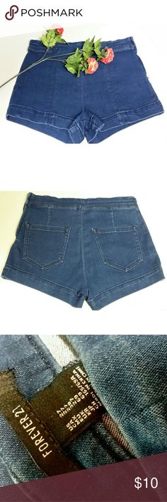 """Forever 21 High Waist Denim Shorts Great shorts! Size 27. 30"""" hip. 11"""" length. Questions are welcomed. Zips on side. Forever 21 Shorts"""