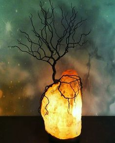 Wire #tree of life salt lamp, by KristinRebecca on #etsy  I can't get enough of these wonderful artists