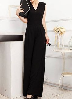 $19.69 Solid Color Casual V-Neck Sleeveless Casual Jumpsuit For Women