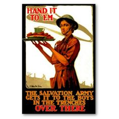 A Vintage Salvation Army poster with a lovely lady serving donuts to those in need. Army History, Classic Army, Personalized Posters, Just Girly Things, My Church, World War I, Wwii, Storytelling, Red Mill