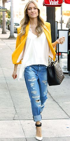 Kristin Cavallari in distressed boyfriend jeans, white shirt, and yellow blazer with Chinese Laundry heels.