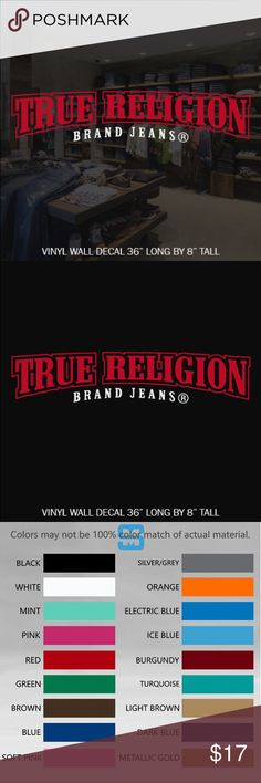 """TRUE RELIGION VINYL WALL DECAL STICKER 36"""" LONG CUSTOM MADE DECAL TRUE RELIGION WALL DECAL 36"""" ☆CONTACT ME FOR CUSTOM DESIGNS☆  ☆COLOR☆ Choose from 16 colors listed in the 2nd photo in listing at check out add your color to notes or default black will be sent   ☆MATERIAL☆ Oracal 641 Premium Vinyl  ☆VINYL PRODUCT DETAILS  - Rated for Indoor or Outdoor use - Dishwasher safe 24 hrs after application - Easy Peel & Stick Application - Easy to Remove - UV / Fade Resistant - Adhesive on the…"""