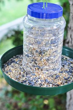 An Upcycled Bird Feeder - Suburble - Modern Design Bird Feeder Craft, Garden Bird Feeders, Birdhouse Craft, Bird House Feeder, Birdhouses, Diy Recycle, Recycling, Peanut Butter Jar, Homemade Bird Feeders
