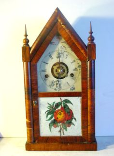 Antique Cathedral Mantle Clock  Wood with Front Door by 1560main, $35.00