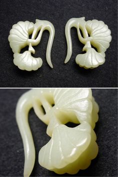 (Jin) A pair of White Jade Earrings, ginkgo leaf design. ca 12th -13th century CE. Jin dynasty, China