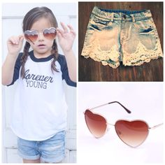 Casual cool in the shoppe today! Ready to shop while the boys watch football!  Take a peek at our new arrivals and shop this look by clicking the link in our bio or visiting www.modernechild.com . #heartshades #laceshorts #modernechild #modelkids #mcdolly #kayla #denimshorts #kidsstyle #kidsfashion #fashionkids #stylishkids #trendsetter #trendykids #adorablekidsclothing #spring #kidsaccessories #accessorize