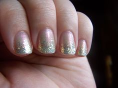Barely There Glitter Gradient: Revlon's Rendez-Blue with Julep's Camille
