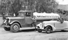 Gilmore White Gasoline Tanker and a Mystery Gilmore Car