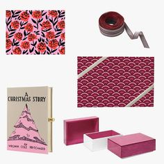 """Solid iridescent ribbon, $15, for information: onekingslane.com; Minted festive fans wrapping paper, $15, minted.com; Swing Design aura medium storage box, $39, bloomingdales.com; Olympia Le-Tan """"A Christmas Story"""" embroidered clutch, $850, theoutnet.com"""