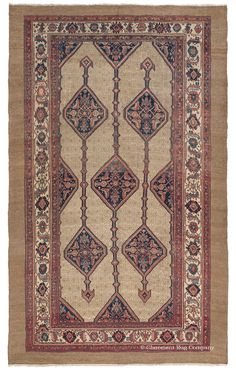 SERAB CAMELHAIR, Northwest Persian, 7ft 10in x 12ft 10in, 3rd Quarter, 19th Century.  An especially versatile, seldom encountered size allows this spirited antique Persian Serab Camelhair rug to embrace both room and corridor applications with equal fluency. The charming asymmetry in its medallion outlines and two-toned abrash accents is very skillfully executed, introducing captivating teal tones that greatly enhance the carpet's idiosyncratic impression.