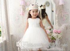 Romatic White Baby Girl Party Dresses Tutu Mesh Infant Kids Dresses Elegant Baby Girl Flowers Wedding Party Dress