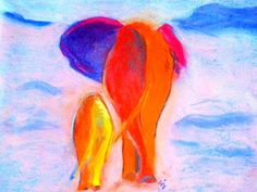 Baby elephant and mom, funky, whimsical and colorful, walk away into the soft sunset dusk in the African jungle :)) Posters, Art Prints, Greeting cards.. Whimsical colorful funky floral & wildlife pop art fun unusual paintings by Sue Jacobi - Sudha Jacobi, on www.sue-j.artistwebsites.com
