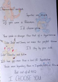 Pokemon Poem by on DeviantArt Pokemon Gifts, Cute Pokemon, Pokemon Quotes, Deviant Art, Valentines Day Poems, Pokemon Valentines, Gotta Catch Them All, Promposal, Gifts