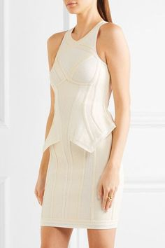 Off-white rayon-blend  Concealed hook and zip fastening at back  90% rayon, 9% nylon, 1% spandex Dry clean