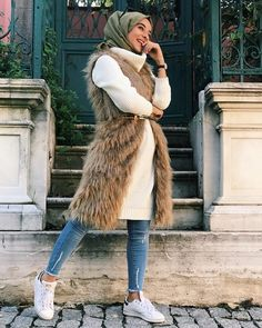 How to wear fur vest with hijab – Just Trendy Girls