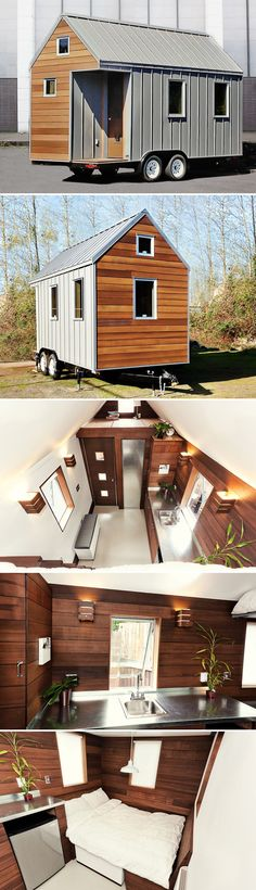 Miter Box, a 16′ tiny house with reclaimed woods and metals, was the first model home for Shelter Wise, a tiny house design-build company based in Portland, Oregon. The modern, simple design was created to be extremely energy efficient.