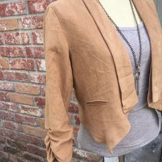 Faux suede camel blazer A lovely camel toned faux suede blazer by Poetry with Scrunched sleeves! It is a thin suede cloth like material, very light weight. It is not genuine suede/leather. Great condition☺️ size small. no trades make an offer!✅ oh & follow me on Instagram @BeThriftyChic  Poetry Jackets & Coats Blazers