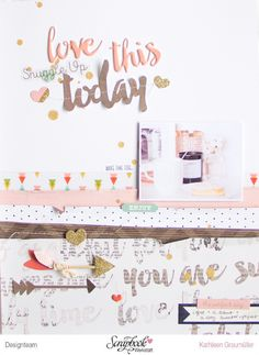 """Today"" layout by ScatteredConfetti // #scrapbookwerkstatt #pinkpaislee #cratepaper"
