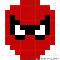 Spiderman mask perler bead pattern