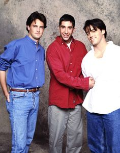 Matthew Perry, David Schwimmer and Matt LeBlanc from Friends in the 1990's