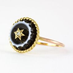 Antique Banded Agate & Gold Star Set Diamond Ring by HeartDecoShop