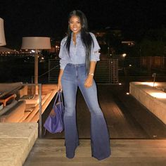 ShopStyle Look by treceefabulous featuring Frame Denim Le High Super Flare and Eve Denim Jacqueline flared denim jeans Flare Jeans Outfit, Denim Outfit, Denim Fashion, Look Fashion, Autumn Fashion, Fashion Outfits, Classy Outfits, Stylish Outfits, Fall Winter Outfits