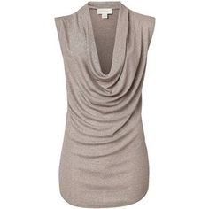 Polyvore & More!! / Witchery Metallic Cowl Neck Tank ($72) ❤ liked on Polyvore