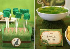 edible foliage (green marshmallow pops) and swamp slime made by mixing two green jellies' together.