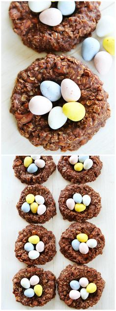 No-Bake Chocolate Peanut Butter Nest Cookie Recipe on twopeasandtheirpod.com These easy no-bake cookie nests are the perfect treat for spring and Easter!