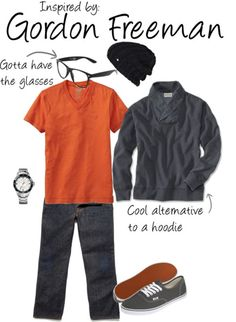 Gordon Freeman (Half-Life Series) by ladysnip3r featuring vans shoes  This outfit is inspired by Gordon Freeman of the Half-Life series. I chose similar colors to his in-game armor, however, I didn't want to have too much orange since it's a very difficult color to pull off. I also chose a grey sweater instead of a sweatshirt or hoodie because I think it adds a more mature feeling to the outfit. I also chose some pretty basic accessories of a watch and beanie, and of course, I had to