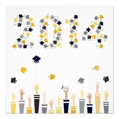 Graduation 2014 Party Invitation II — Here's a really Fun Modern Graduation Party Invitation. Graphic student arms throw their mortar boards in the air to form the year 2014 in Gold, Silver, and Black. Customize with your own text on the back.