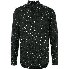 Kazuyuki Kumagai polka dot shirt ($435) ❤ liked on Polyvore featuring men's fashion, men's clothing, men's shirts, men's casual shirts, black and mens polka dot shirt