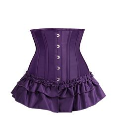 Shape your waist, look one size slimmer instantly. Look irresistible in this stunning burlesque underbust corset. Wear with your own bra or accessories for the more daring, along with some suspenders for a truly magnificent show piece. It has a gathered 2 layer peplum and ruffle trim to add some bounce and movement to the hem and give a more voluptuous shape to those curves. The pattern and carefully selected flexible spiral steel boning also help you to achieve that sought after hourglass…