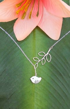 Matte Silver Baby Bird With Branch  Lariat Necklace, handmade jewelry