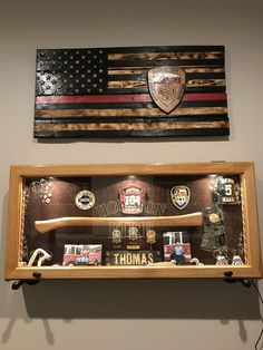 Firefighter shadow boxes and firefighter flag firefighter flag, firefighter logo, wildland firefighter girlfriend shadow boxes and firefighter flag Firefighter Bar, Firefighter Bedroom, Firefighter Home Decor, Wildland Firefighter, American Firefighter, Volunteer Firefighter, Fireman Room, Fire Helmet, Firefighters Wife