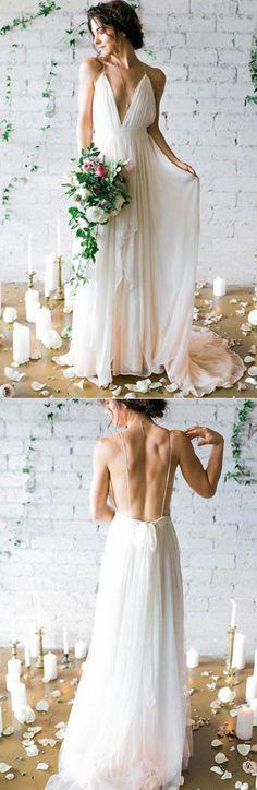 #Ivory #DeepVneck #SweepTrain #WeddingDresses,Simple #BridalGown With Straps