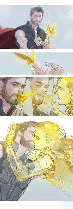 "Umm... The art is beautiful but who ships them... They r brothers even tho Loki is ""adopted""... Plz don't ship them Loki Laufeyson, Loki Art, Thor X Loki, Marvel Avengers, Marvel Dc Comics, Marvel Universe, Stony, Yuri, Batman Y Superman"
