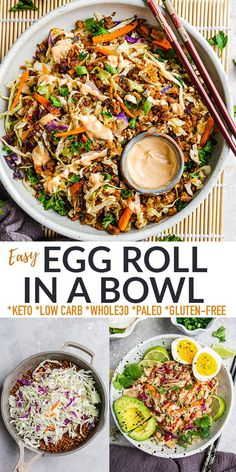 This Egg Roll in a Bowl is an easy low-carb dinner with everything you love about the egg rolls from your favorite Chinese restaurant, minus the pesky wrappers. Show busy weeknights who's boss with this healthy and delicious 20-minute recipe! Gluten free, keto, paleo and Whole30 compliant plus options for vegetarian & vegan. Meal prep, freezer friendly, simple to customize & make ahead for work or school lunchboxes. 4g net carbs & 1 Freestyle Smart Point